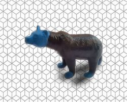 ours enfant peint patine bronzo