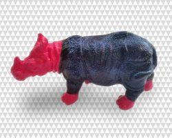 rhinoceros enfant peint patine bronzo