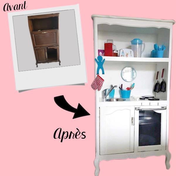 Transformation meuble télé en cuisine enfant